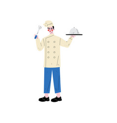 male chef holding platter cloche and fork hotel vector image