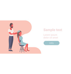 man with hairbrush combing woman lovers couple vector image