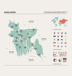 Map bangladesh high detailed country map vector