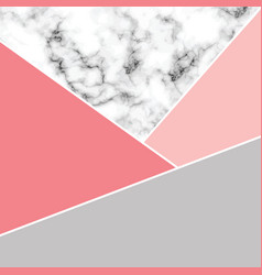 Marble texture design with white geometric lines vector