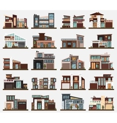 Modern houses or buildings with garage and bushes vector