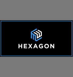 Mw hexagon logo design inspiration vector