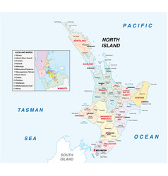new zealand north island administrative map vector image