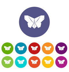 origami butterfly icons set color vector image