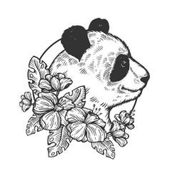 panda bear animal engraving vector image