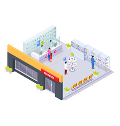 Pharmacy store interior with pharmacists and vector