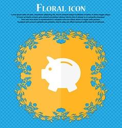 Piggy bank - saving money icon Floral flat design vector