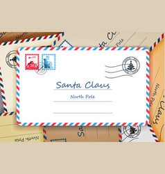 Pile of santa claus christmas mailing address vector