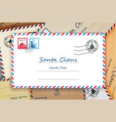 Pile santa claus christmas mailing address vector
