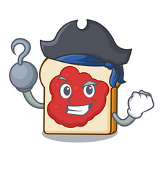 Pirate bread with jam character cartoon vector