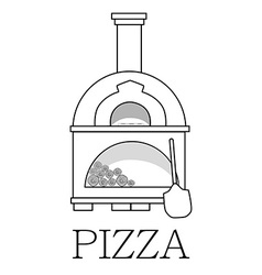 Pizza oven with text pizza outline drawing vector image