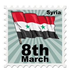 post stamp of national day of Syria vector image