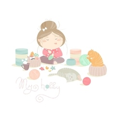 Pretty girl knitting vector