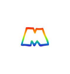 Rainbow gradient line drawing cartoon letter m vector