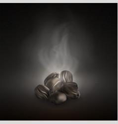 realistic coffee beans roasted dark black vector image