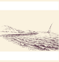 sailboat in sea lateral view from shore vector image