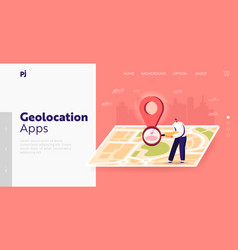 Satellite geolocation positioning landing page vector