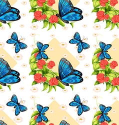 Seamless blue butterflies and roses vector