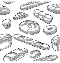Seamless pattern for bakery black hand vector