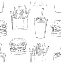 Seamless pattern with sketched burger french vector image
