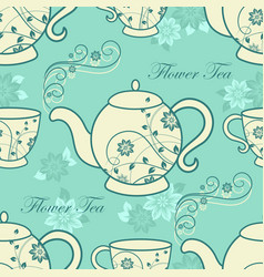 seamless pattern with teapots and cups with floral vector image