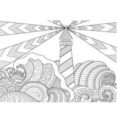 Seascape line art design vector