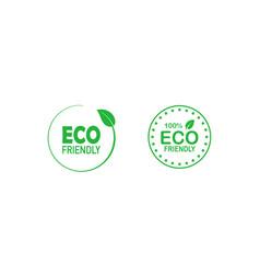 Set eco friendly 100 percent green badges vector