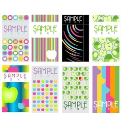 Set of 8 abstract business cards vector