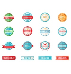 Set of colored emblems and stamps vector