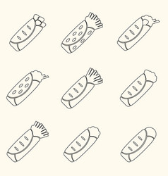 set of outline tortilla food icons set eps10 vector image