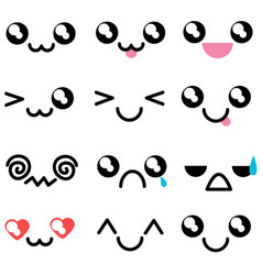 Set with kawaii mimicry faces different muzzles vector