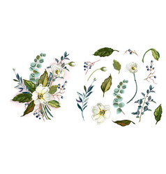 Set with white flowers vector