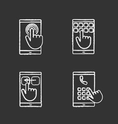 smartphone touchscreen chalk icons set vector image