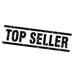 square grunge black top seller stamp vector image