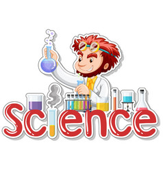 sticker design with scientist doing experiment vector image