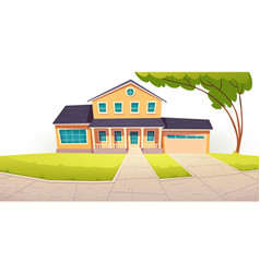 suburban cottage residential house with garage vector image