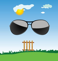 sunglass in the nature cartoon art vector image