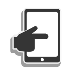 tablet hand touching screen icon graphic vector image vector image