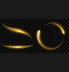 tails of sparkle stardust in gold colors vector image