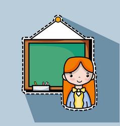 Teacher woman with board to teach the students vector