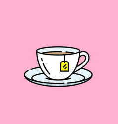 Teacup line icon vector