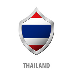 thailand flag on metal shiny shield vector image