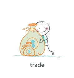 trade hugging a bag of money vector image