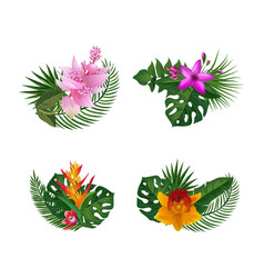 Tropical palm leaves and exotic flower vector