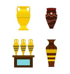 vase icon set flat style vector image