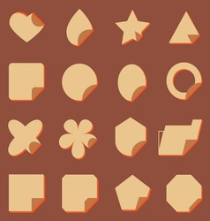 Vintage corner lebel icons with shadow vector image