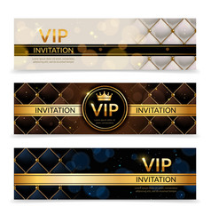 Vip banners premium invitation card luxury vector