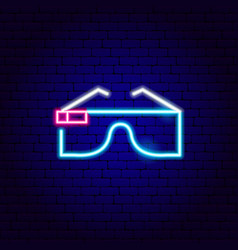 Virtual reality glasses neon sign vector