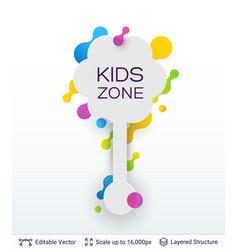 White badge kids zone sticker vector