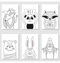 Wild funny animals children Greeting card vector